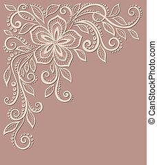 mönster, blommig, vacker, gammal, element, design, style.