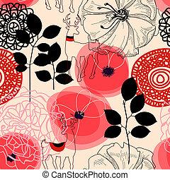 mönster, blomningen, seamless, deers