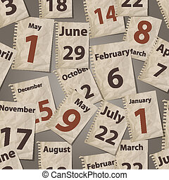 mönster, bort, sönderrivet, seamless, vektor, ark, kalender