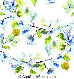 mönster, brunch, träd, seamless, blomstrande