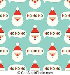 mönster, claus, seamless, ansikte, jultomten, jul