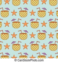 mönster, cocktail, sjöstjärna, ananas