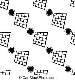 mönster, energi, seamless, illustration, bakgrund., vektor, sol, vit, ikon, panel