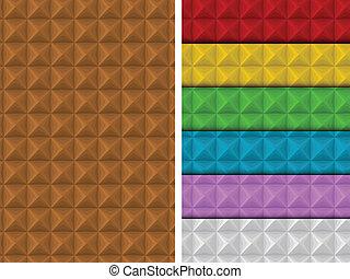 mönster, färgrik, geometrisk, fyrkant, seamless, sätta