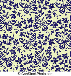mönster, fjärilar, vektor, seamless