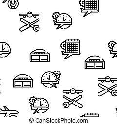 mönster, flygplan, seamless, vektor, reparera, verktyg