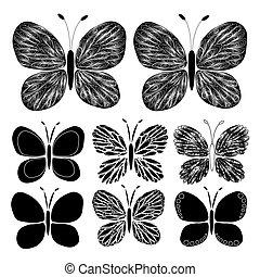 mönster formge, fjäril, tatuera