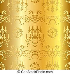 mönster formge, seamless, guld