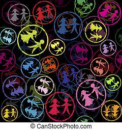 mönster, frimärken, färgad, barn