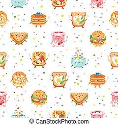 mönster, frukost, någonsin, seamless, bäst