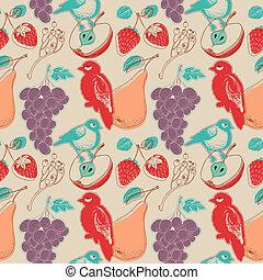 mönster, frukter, fåglar, seamless, retro