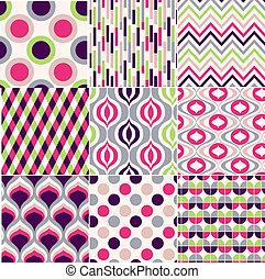 mönster, geometrisk, seamless, färgrik