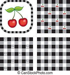 mönster, gingham, seamless, körsbär