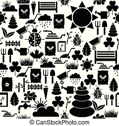 mönster, gräsmatta, icon., bakgrund, seamless