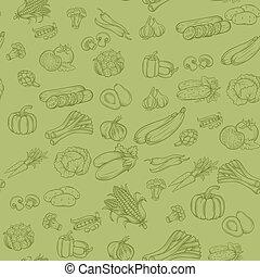 mönster, grönsaken, vektor, seamless, bakgrund