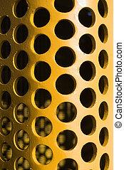 mönster, gul, stort, böjd, hål, pl