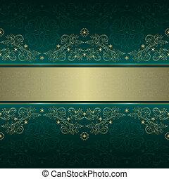 mönster, guld, seamless, blommig, grön, årgång