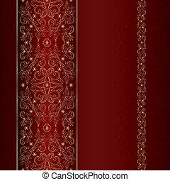 mönster, guld, seamless, blommig, röd, årgång