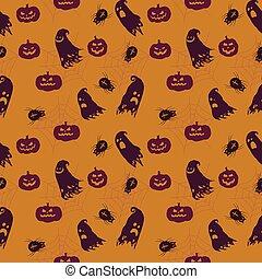 mönster, halloween, seamless, vektor, bakgrund, tecknad film