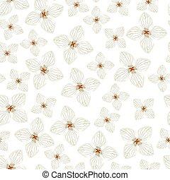 mönster, hortensia, blomningen, seamless