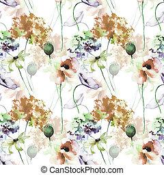 mönster, hortensia, blomningen, seamless, vallmo