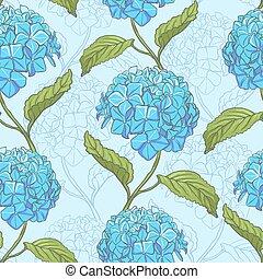 mönster, hortensia, seamless
