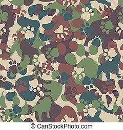 mönster, hund, kamouflage