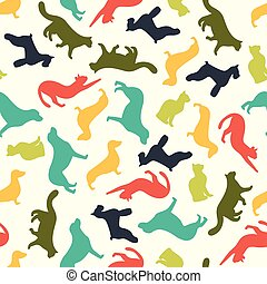 mönster, hund, katt,  silhouettes, vektor,  seamless, djur