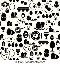mönster, icon., ägg, seamless, bakgrund