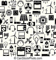 mönster, icon., elektrisk, bakgrund, seamless
