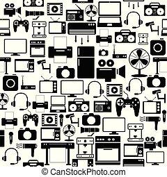 mönster, icon., elektronisk, seamless, bakgrund