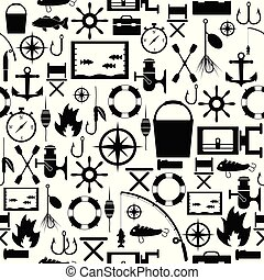mönster, icon., fiske, bakgrund, seamless