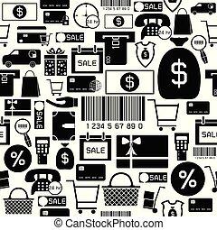 mönster, icon., inköp, seamless, bakgrund