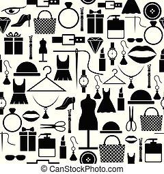 mönster, icon., mode, seamless, bakgrund