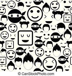 mönster, icon., seamless, bakgrund, ansikte