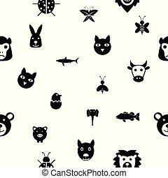mönster, icon., seamless, bakgrund, djur