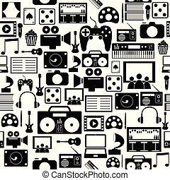 mönster, icon., seamless, bakgrund, underhållning