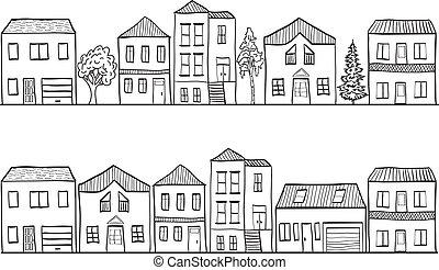 mönster, -, illustration, hus, träd, bakgrund