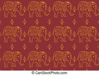 mönster, indiansk elefant