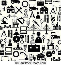 mönster, ingenjörsvetenskap, icon., bakgrund, seamless