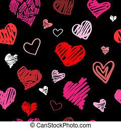 mönster, kärlek, bakgrund, vektor