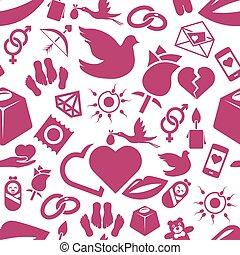mönster, kärlek, seamless