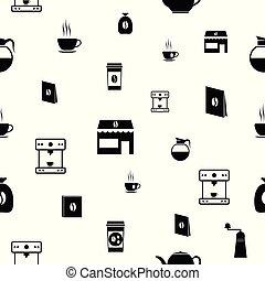mönster, kaffe, icon., bakgrund, seamless