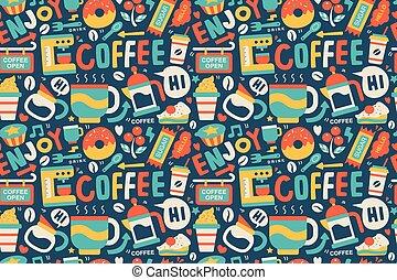 mönster, kaffe, seamless