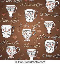 mönster, kaffe, vektor, kärlek, seamless