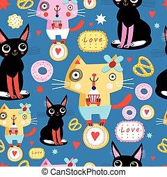 mönster, katter, seamless, rolig