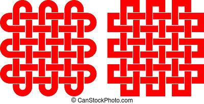 mönster, knutig, fyrkant