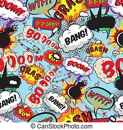 mönster, komiker, anförande, bubblar, seamless