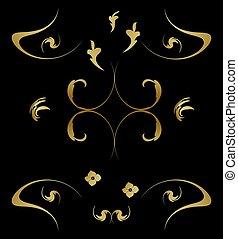 mönster, kunglig, guld