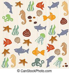 mönster, liv, 2, seamless, ocean